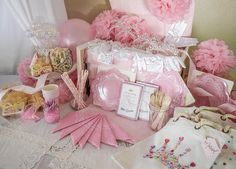 Birthday Party in a Box ,Supplies ,Complete Party Package for 4,Pink Paper Decor, Jewel Craft Kit, Etiquette Game, Party Pack, Canopy Tent