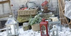 Ideen Außendekoration für Weihnachten laternen