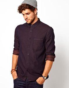Image 1 ofASOS Denim Shirt in Long Sleeve with Overdye Brushed Denim
