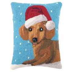 Check out this item at One Kings Lane! Christmas Dachshund 14x18 Pillow, Blue