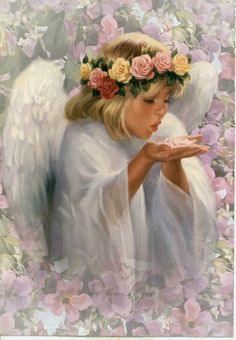 GIF - Angel blowing kisses your way Angel Images, Angel Pictures, Baby Engel, Angel Kisses, Floral Vintage, I Believe In Angels, Images Vintage, Angels Among Us, Angels In Heaven