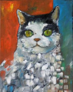 CAT XI (Pintura),  24x30 cm por Miroslaw Hajnos oil on canvas