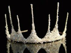 'Ice Queen Half Crown Tiara' is made with Swarovski crystals & hundreds of tiny glass beads. Another Crown for Queen Mab. Bridal Crown, Bridal Tiara, Ice Queen Costume, Wire Crown, Queen Crown, Circlet, Tiaras And Crowns, Crown Jewels, Fascinator