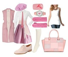 """""""Women's Pink Truth Transcends Translation Work Autumn Outfit"""" by eternalfeatherfilm on Polyvore featuring Hobbs, Chicwish, Marabelle, Lowie, MICHAEL Michael Kors, Betmar, MDS Stripes, Acne Studios, 42Pops and Hue"""