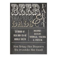 Chalkboard Beer Diapers and Dads Baby Shower Announcement