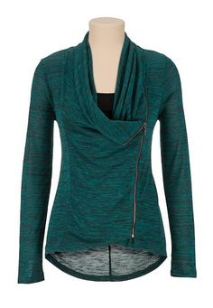 asymmetrical zip front spacedye knit top (original price, $32) available at #Maurices