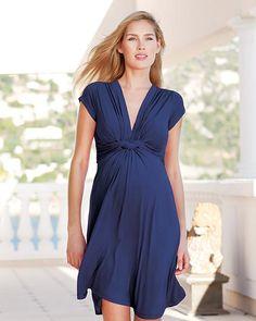 0f5fa0085ea0 Seraphine Jolene - Abito Elegante Premaman Nodo - Blu Navy Vestiti