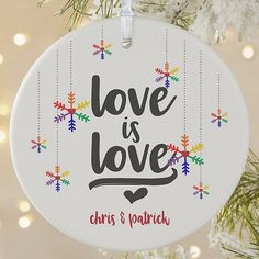 Celebrate a love so strong with the Love Wins Matte Personalized Pride Christmas Ornament. This ornament features your choice of phrase and any two names surrounded by a rainbow snowflake design. Gay Christmas, Diy Christmas Garland, Personalized Christmas Ornaments, Christmas Gifts For Her, Christmas Crafts, Christmas Stuff, Christmas Decorations, Snowflake Designs, Ornaments Ideas