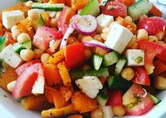Roasted butternut, feta and chickpeas Salad Honey Mustard Salad Dressing, Apple Soup, Plum Tomatoes, Chickpea Salad, Roasted Butternut, Fruit Salad, Feta, Sweet Potato, Carrots