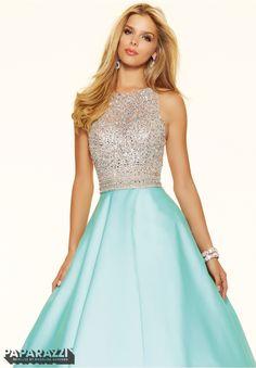 Prom Dress 98016 Beaded Net on Larissa Satin In stock Sz 14 Aqua