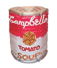 Andy Warhol's Campbell Soup Can recreated in balloons by Larry Moss: