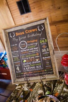 Hey, I found this really awesome Etsy listing at https://www.etsy.com/ca/listing/203667500/hunting-first-birthday-chalkboard-sign