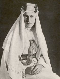 """T.E. Lawrence (""""Lawrence of Arabia"""" - 16 August 1888– 19 May 1935)  Author, British Army officer, military observer, advisor, archaeologist, documentarian.  Lawrence gained international notoriety based on his accounts of the Arab Uprising against the Ottoman Empire during World War I.  He was the illegitimate son of an Anglo-Irish nobleman and a governess."""