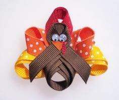 Items similar to Girls Hair Clips - Toddler Hair Clips - Baby Hair Clips - Girls Hair Bows - Tommy the Turkey No Slip Hair Clip on Etsy. , via Etsy. Ribbon Art, Ribbon Crafts, Ribbon Bows, Ribbon Flower, Fabric Flowers, Felt Flowers, Thanksgiving Crafts, Fall Crafts, Holiday Crafts