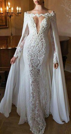 Berta bridal cape lace 54 New ideas Lace Mermaid Wedding Dress, Wedding Dress Sleeves, Mermaid Dresses, Mermaid Bridal Gowns, Wedding Dress Cape, Gatsby Wedding Dress, 2015 Wedding Dresses, Bridal Dresses, Medieval Wedding Dresses