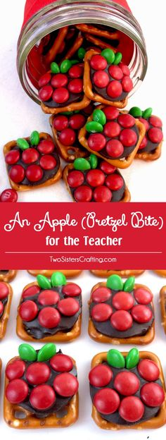 If you are looking for a very easy to make DIY Teacher Appreciation Gift or end of the year Teacher Gift try Apple Pretzel Bites - sweet, salty and delicious. Pin this fun and easy Homemade Teacher Gi (Diy Gifts Food) Homemade Teacher Gifts, Diy Gifts For Mom, Easy Gifts, Diy Gifts For Teachers, Year End Teacher Gifts, Funny Teachers, Teacher Presents, Preschool Teacher Gifts, Teacher Birthday Gifts