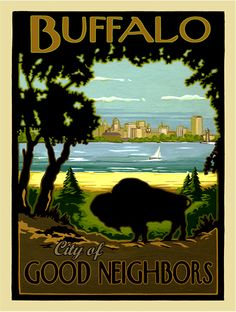 Poster Art USA has the largest selection of Buffalo, NY and Western New York images Buffalo City, Buffalo New York, Buffalo Bills, Good Neighbor, Vintage Travel Posters, Cool Posters, Oise, Great Places, Westerns
