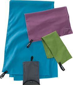PackTowl - ultra-absorbent and anitmicrobial, these towels are light and compact, great for backpacking or canoe camping. A large dried two of us off after swimming and dried out within an hour.