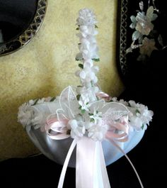 Wedding Flower Girl Basket White Pink or Custom by SisiCreations, $50.00
