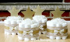 SET OF 4 Mini Twinkle Twinkle Little Star Diaper Cakes, Gold Burlap Lace, Gender Neutral Baby Shower Centerpiece, Twinkle Twinkle Shower by BabeeCakesBoutique on Etsy https://www.etsy.com/listing/241549692/set-of-4-mini-twinkle-twinkle-little