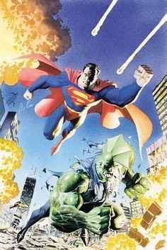 Superman & Savage Dragon by Erik Larsen & Alex Ross Comic Book Characters, Comic Character, Comic Books Art, Alex Ross, Savage Dragon, Alternative Comics, Image Comics, Norman Rockwell, Marvel Vs