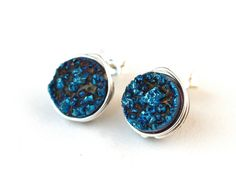 Blue Druzy Stud Post Earrings Silver by WrennJewelry on Etsy, $25.00