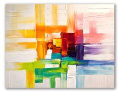 """Obra al óleo """"Colores del prisma"""" - Con trabajo de cuchilla, describiendo líneas rectangulares de color, con textura.   La cromática de la composición recuerda los rayos de luz descompuestos en colores, a partir de la luz blanca. Una obra muy decorativa y luminosa."""