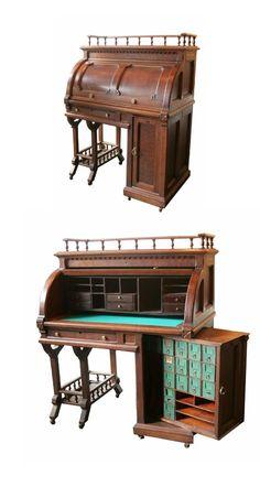 Walnut Cylinder Wooten Desk