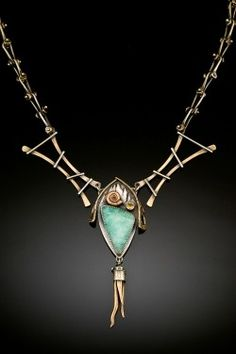 Necklace | Una Barrett.  Mixed metals and other found objects and materials