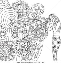 Doodles design of a photographer girl taking photo for coloring book for adult…