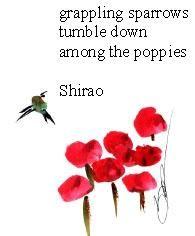 Haiga Shirao Sparrows
