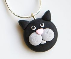 Cat Face Necklace, Polymer Clay, Fimo, Animal, Jewellery, Cute, Miniature £7.00