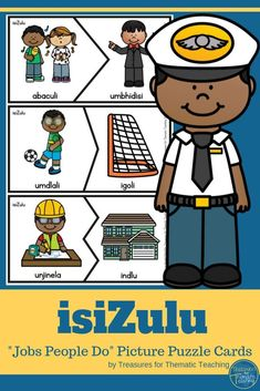 This resource is made up of 27 Puzzle card sets.  Each set contains a person representing a job/career and an object, vehicle or place that is associated with that job /career.  Cut out and laminate.  Get the learners to match the cards correctly.  #isizulu #careerday #jobspeopledo #peoplewhohelpus #treasuresforthematicteaching