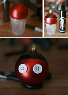 SUPER EASY way to make some Mickey Ornaments.     OMFG LOVE IT