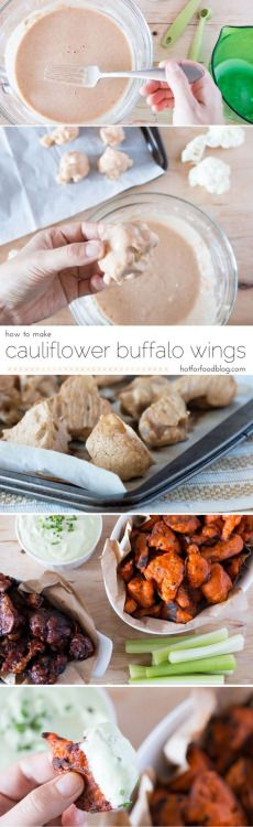 """How to make cauliflower""""wings""""! Sourceingredients:1 head of cauliflower (approx. 4-5 cups of florets)½ C unsweetened non-dairy milk (almond or soy work best)½ C water¾ C all-purpose flour (can sub gluten-free rice flour)2 tsp garlic powder2 tsp onion powder1 tsp cumin1 tsp of paprika¼ tsp sea salt¼ tsp ground pepper1 tbsp earth balance buttery spread1 C frank's red hot sauce"""