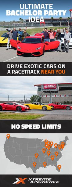 Xtreme Xperience brings you and your friends the thrill of a lifetime at a racetrack near you! Driving a Ferrari, Lamborghini, Porsche or other exotic sports car is a guaranteed a good story to tell and a life-long memory. Reserve your SupercarTrack Xperience today. Space is limited!