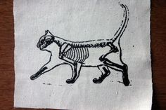 Your place to buy and sell all things handmade Cat Skeleton, Skeleton Tattoos, Punk Tattoo, Cat Tattoo, 13 Dollar Tattoos, Zelda Tattoo, Punk Patches, Simplistic Tattoos, Skull And Bones