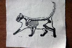 Cat Skeleton Patch Kitty Skull Bones Cute Punk Feline. $5.00, via Etsy.