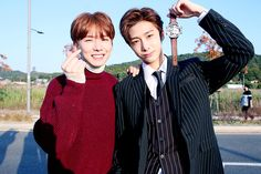 """""""[STARCAST] MONSTA X's dramatic music video 'DRAMARAMA' on-site release - Kihyun and Hyungwon Source: Naver"""""""