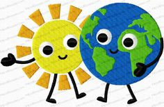The Sun and Earth Cartoon Embroidery Design is perfect for Earth Day.