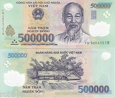 The đồng has been the currency of Vietnam since May 3, 1978. Issued by the State Bank of Vietnam.  In this image is the 500K note issued.