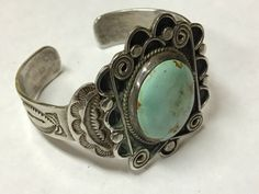 It is unmarked and unsigned, but was verified to be sterling by a local jeweler. Here is a beautiful sterling silver cuff bracelet, with a light greenish blue turquoise stone. Turquoise Cuff, Turquoise Jewelry, Turquoise Bracelet, Silver Jewelry, Antique Jewelry, Fashion Jewelry Necklaces, Heart Jewelry, Jewelry Art, Jewlery