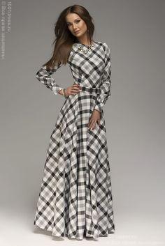 Платье длины макси в черно-белую клетку DM00096BK , черный в интернет магазине Платья для самых красивых 1001dress.Ru