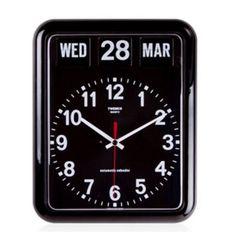 Vintage-Style-Perpetual-Calendar-Wall-Clock-Black-Retro