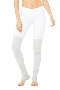 Goddess Legging - White/Vapor Grey - Goddess - Collections at ALO Yoga