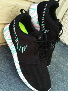on sale 6f507 58783 Custom Nike Roshe Run sneakers South Beach teal  by CustomSneakz Cool Nike  Shoes, Running