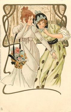 two elaborately dressed girls appear concerned about something lower right, art nouveau gilt border to rural inset, left & above