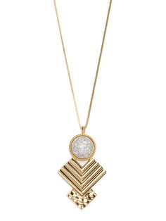$26 When the tribal motif goes fierce, it results in a stunning statement necklace like this. It's in the striking pendant, with its bold chevron accents and streaked gemstone framed in twisted gold.