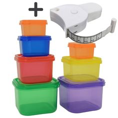 Joy of Kitchen Portion Control Containers 7 pcs + Body Measuring Tape, Reusable Meal Prep Containers with Lids, Compatible with Fix, Best for Diet and Other Uses, Multipurpose Colorful Boxes Portion Control Containers, Meal Prep Containers, Food Storage, Storage Organization, Tape Measure, 21 Day Fix, 21 Days, Kitchen Dining, Joy