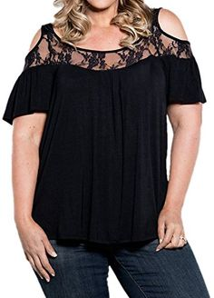 Find PINUPART Women's Short Sleeve Cold Shoulder Pull Plus Size Lace Knit Top online. Shop the latest collection of PINUPART Women's Short Sleeve Cold Shoulder Pull Plus Size Lace Knit Top from the popular stores - all in one Plus Size T Shirts, Plus Size Blouses, Plus Size Tops, Plus Size Women, Tee Shirt Dentelle, Blusas Top, Summer Dress, Summer Wear, Summer Outfits